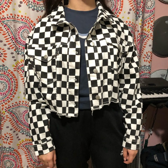 2bc26a22e Oversized cropped Checkered Jacket